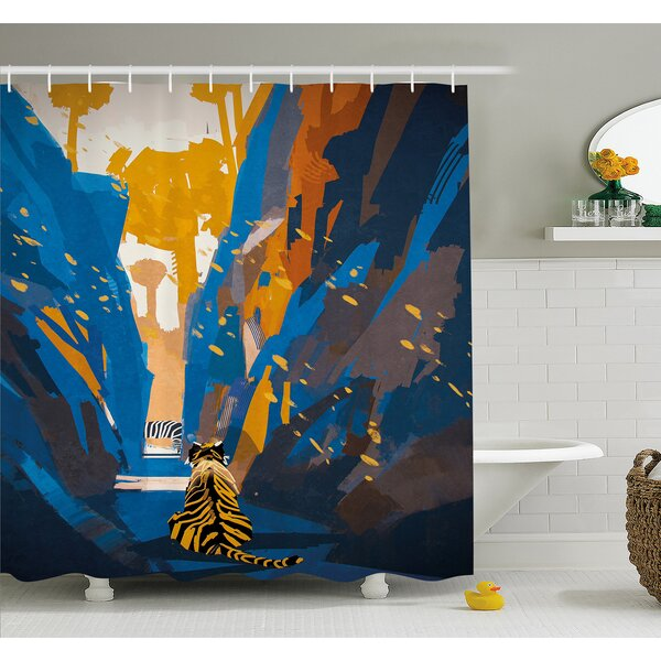 House African Tiger in City Streets Narrow Walls Digital Jungle Savannah Shower Curtain Set by East Urban Home