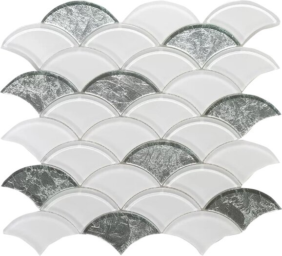 Scaglie Wall 12 x 12 Glass Mosaic Tile in White/Silver Clear by Seven Seas