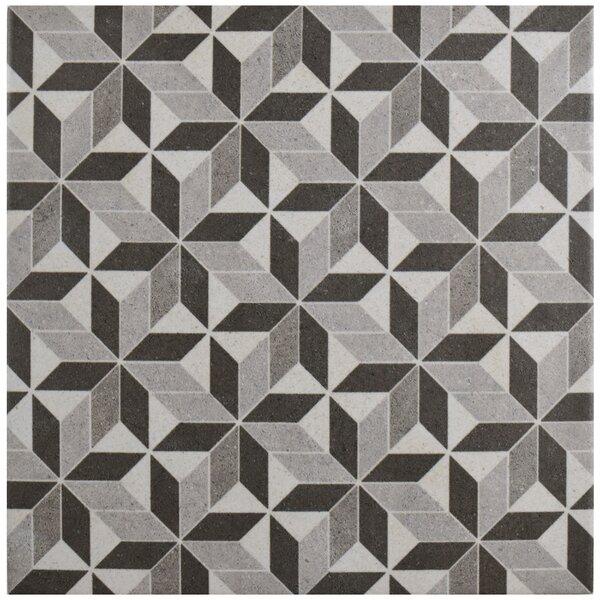 Annata 9.75 x 9.75 Porcelain Field Tile in Gray/Black by EliteTile