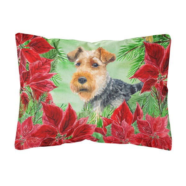 Koret Welsh Terrier Poinsettas Indoor/Outdoor Throw Pillow by The Holiday Aisle