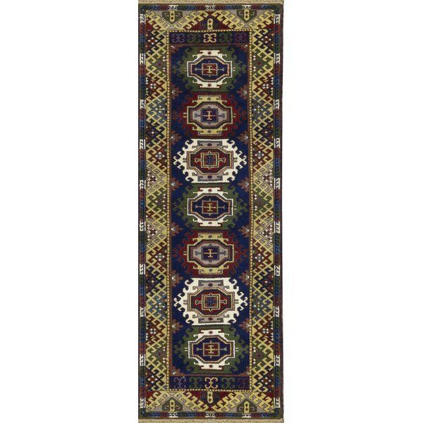 One-of-a-Kind Kazak Handwoven Wool Blue/Cream Indoor Area Rug by Bokara Rug Co., Inc.