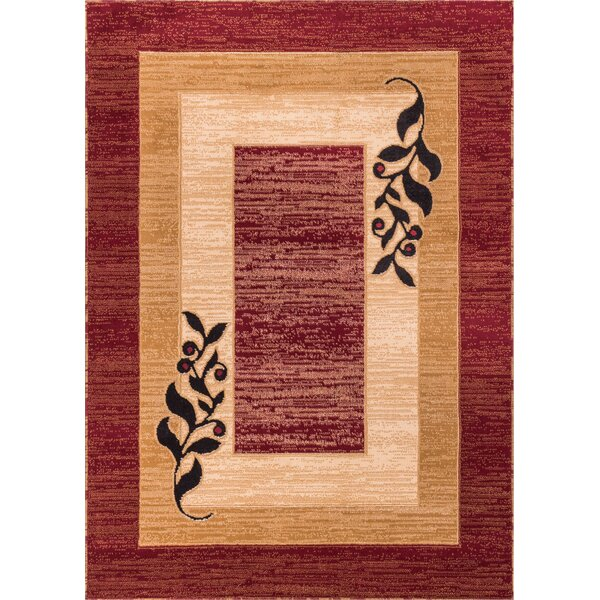 Dewsbury Red/Brown Twigs Area Rug by Andover Mills