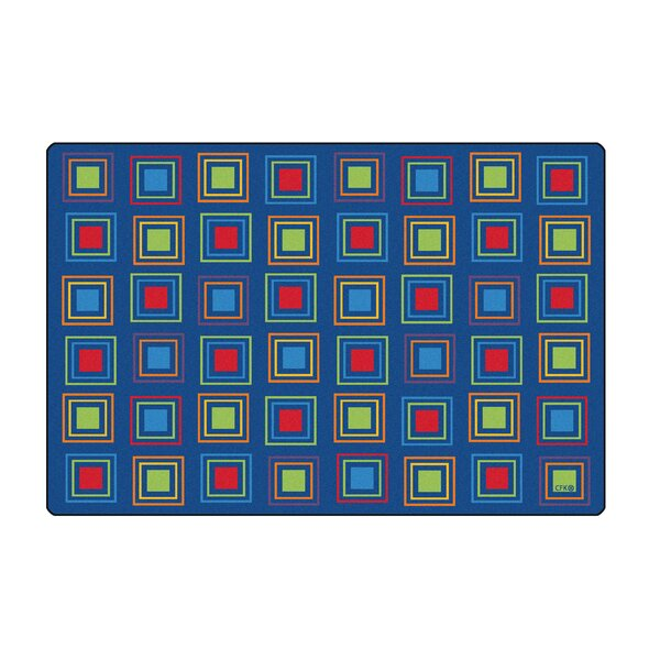 Primary Squares Blue Seating Area Rug by Carpets for Kids Premium Collection