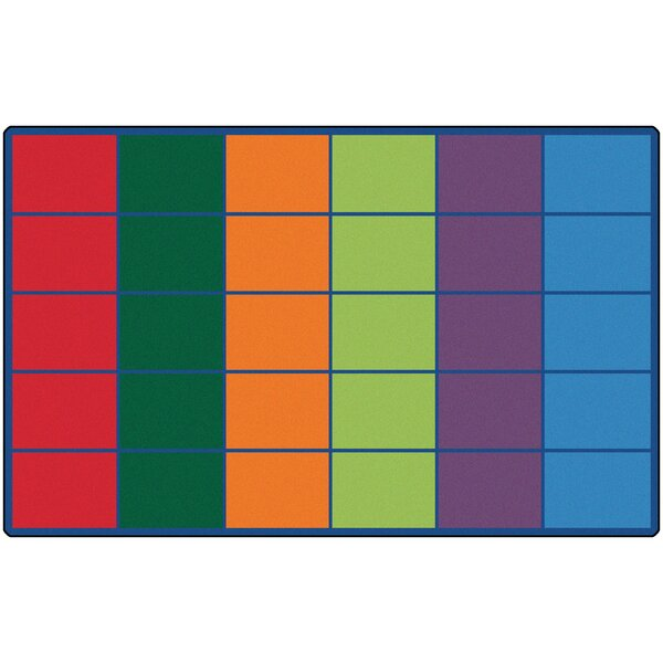 Emmanuelle Colorful Rows Seating Area Rug by Zoomie Kids
