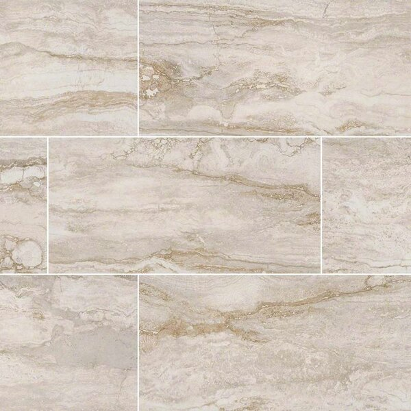 Bernini Pietra Bianco Mosaic Polished 2 x 4 Porcelain Tile in White by MSI