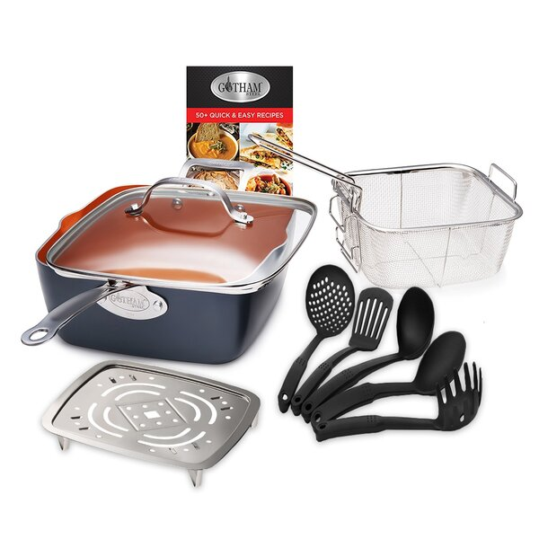 9 Piece Deep Square Non-Stick Cookware Set by Gotham Steel