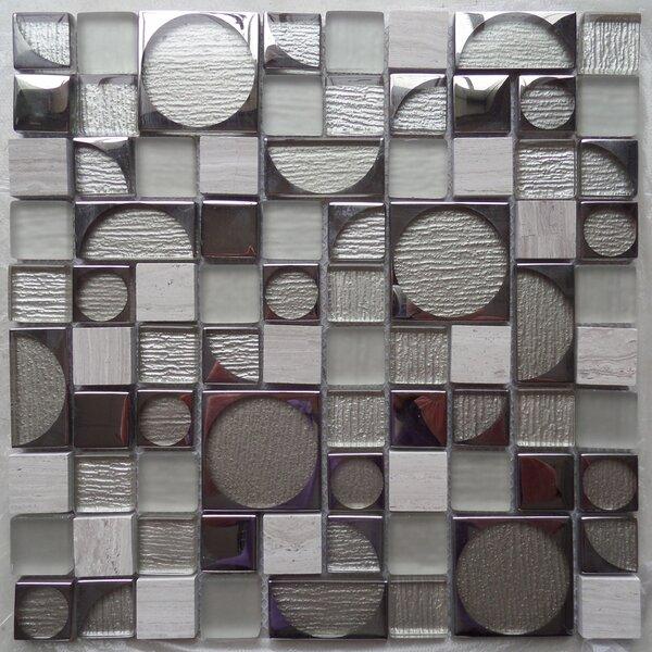 Bombshell Colbalt Random Sized Glass Mosaic Tile in White/Gray by Tile Focus