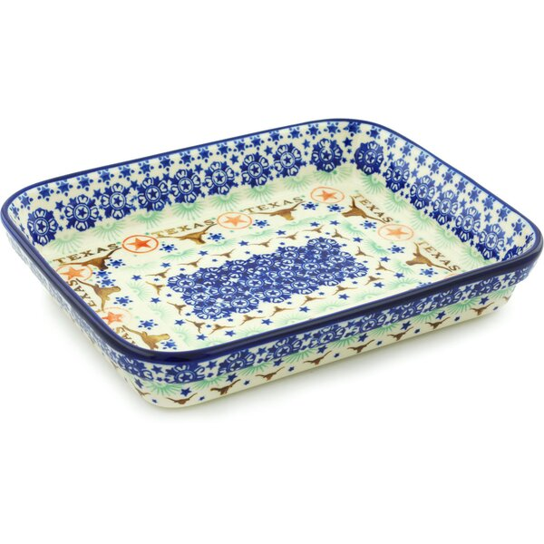 Texas State Rectangular Non-Stick Polish Pottery Baker by Polmedia
