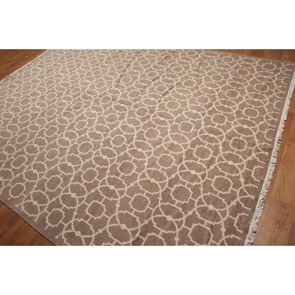 One-of-a-Kind Hibbert Hand-Knotted Wool Taupe Area Rug by Canora Grey