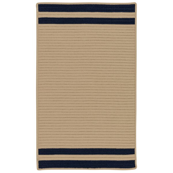 Kellie Stripe Hand-Braided Brown/Navy Indoor/Outdoor Area Rug by Breakwater Bay