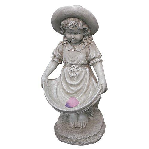 Statue Girl Hold up Skirt Bird Bath Design Toscano