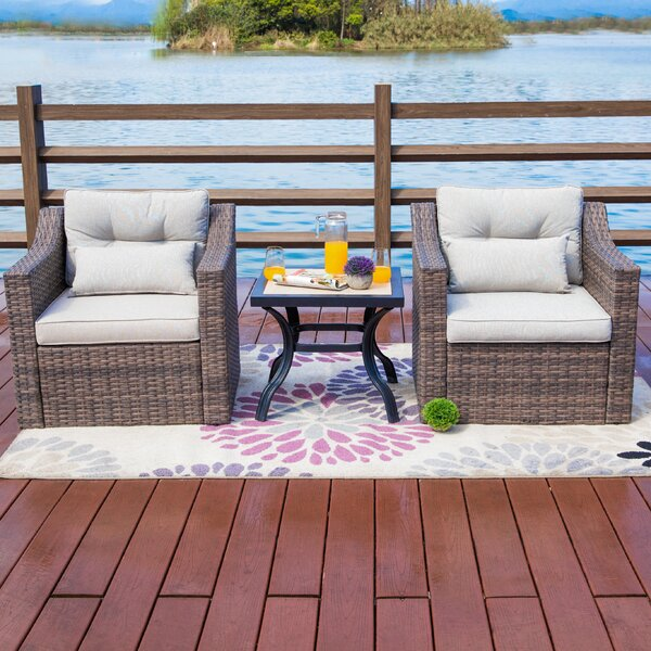 Kwak 3 Piece Seating Group with Cushions by Highland Dunes