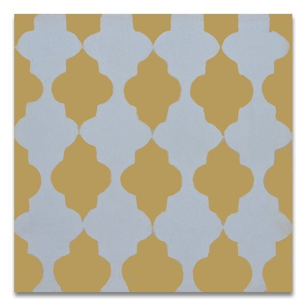 Tafraout 8 x 8 Handmade Cement Tile in Yellow/White by Moroccan Mosaic