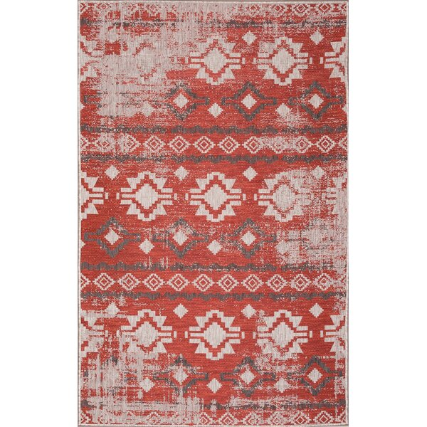 West Drive Light Gray/Red Indoor/Outdoor Area Rug by Millwood Pines