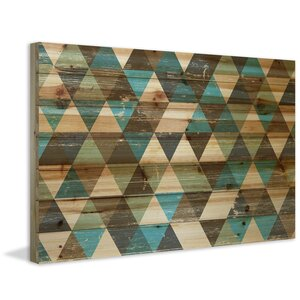'Tans and Blues' Painting Print on Natural Pine Wood by Marmont Hill