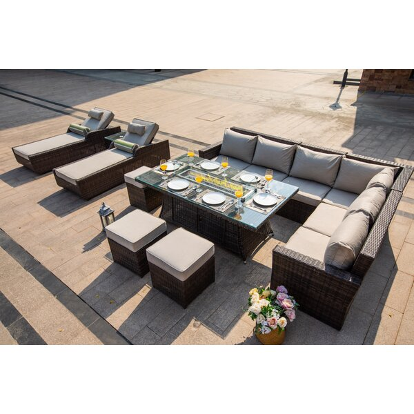 Cormier 8 Piece Rattan Sectional Seating Group with Cushions by Longshore Tides