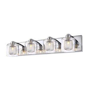 Best Reviews Thorne Glass 4-Light Vanity Light By Orren Ellis