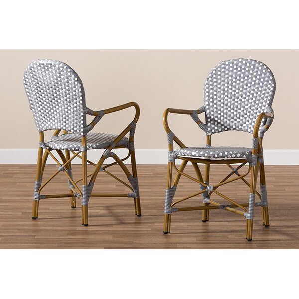 Mari Bamboo Stacking Patio Dining Chair (Set of 2) by Bay Isle Home Bay Isle Home