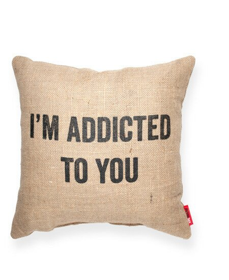 Expressive Addicted To You Jute Burlap Throw Pillow (Set of 2) by Posh365