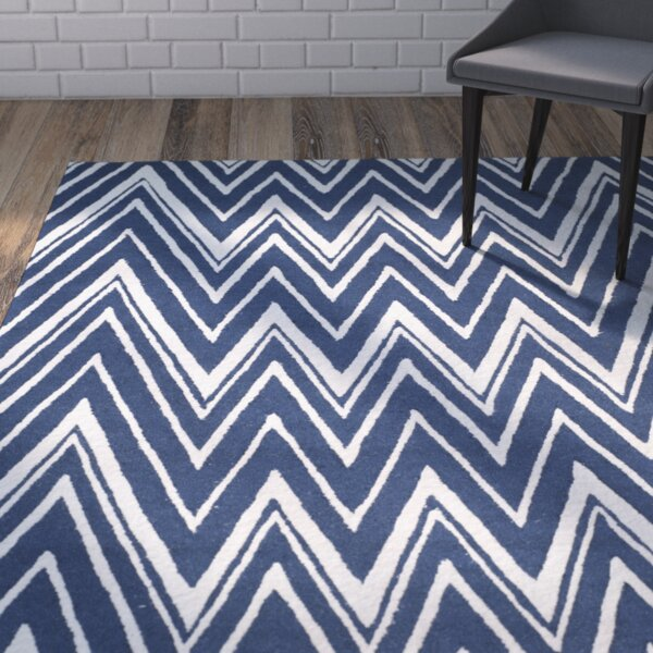 Martins Hand-Tufted Wool Navy/Ivory Area Rug by Wrought Studio