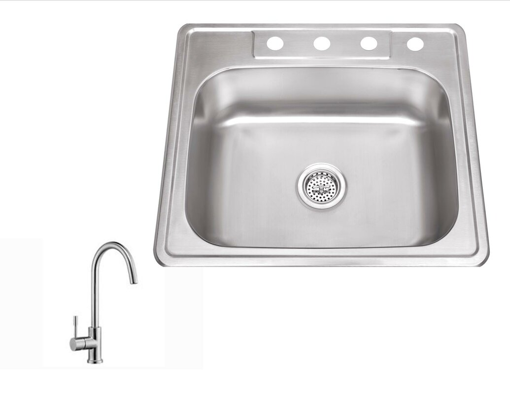 25   x 22   stainless steel drop in single bowl kitchen sink with faucet soleil 25   x 22   stainless steel drop in single bowl kitchen sink      rh   wayfair com