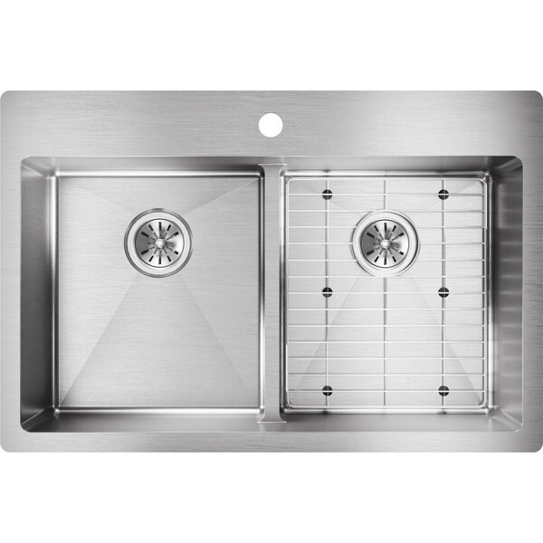 Crosstown 33 x 22 Double Basin Drop-In Kitchen Sink by Elkay
