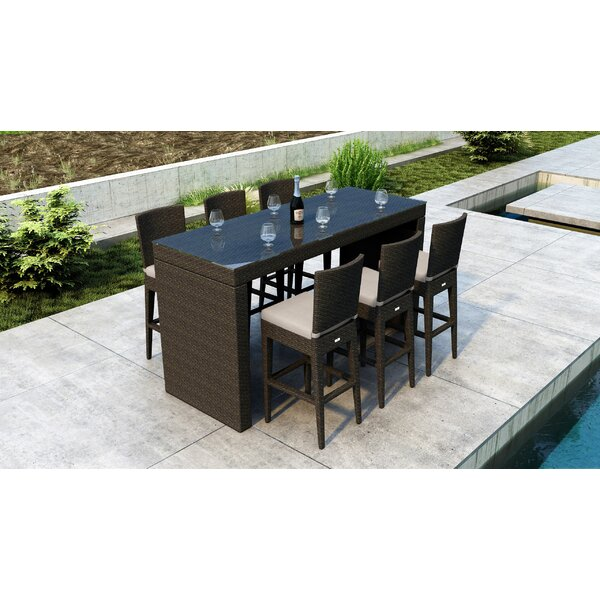 Glen Ellyn 7 Piece Bar Height Dining Set with Sunbrella Cushion by Everly Quinn