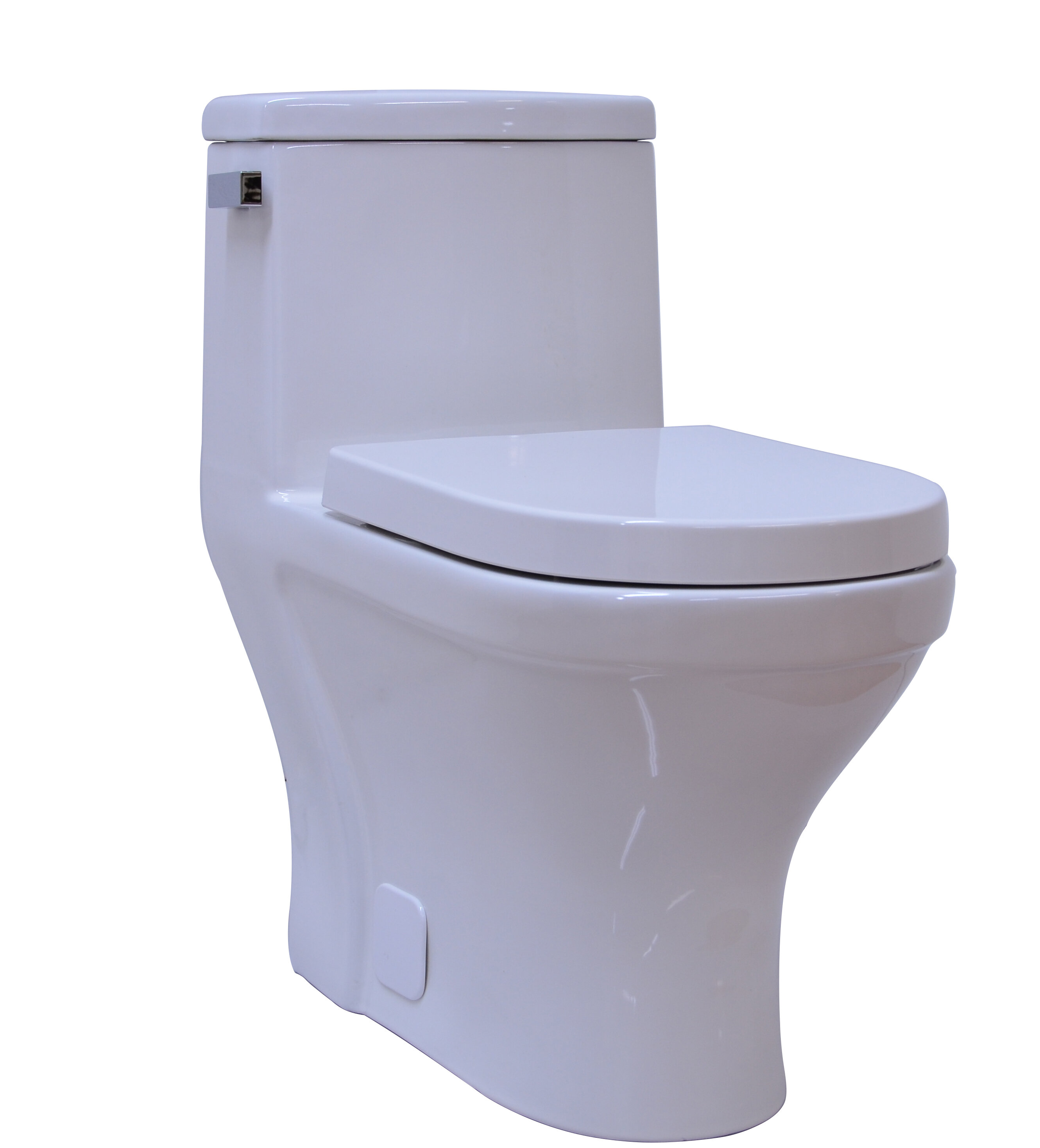 UCore Contemporary Single Flush 1 Piece 1.28GPF Elongated Toilet ...