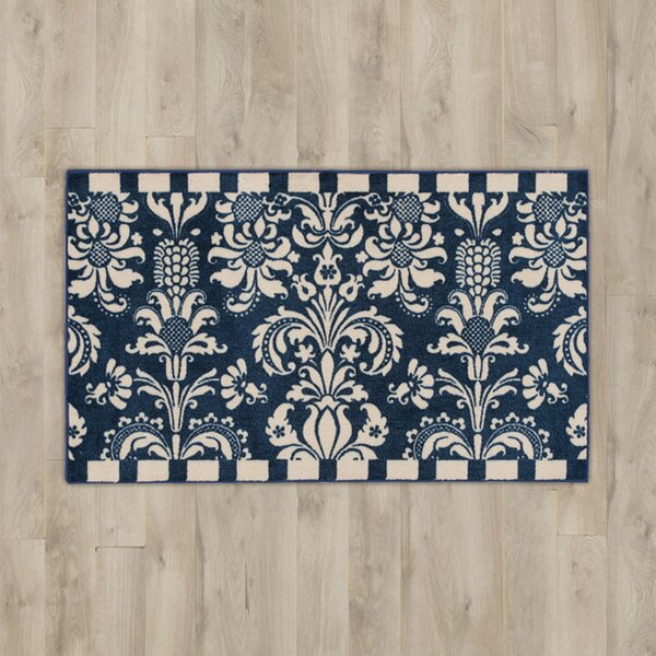 Poquonock Navy/White Area Rug by Charlton Home