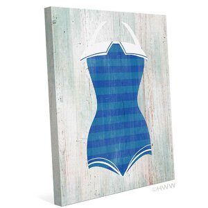 Vintage Blue Stripes Bathing Suit Illustration Graphic art on Wrapped Canvas by Click Wall Art
