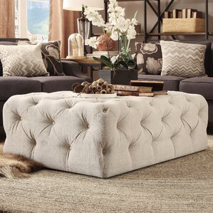bourges rectangular tufted cocktail ottoman - Tufted Ottoman Coffee Table