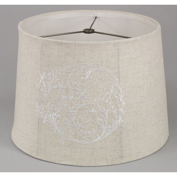 9 H x 13  W Cotton Drum Lamp Shade ( Spider ) in Beige