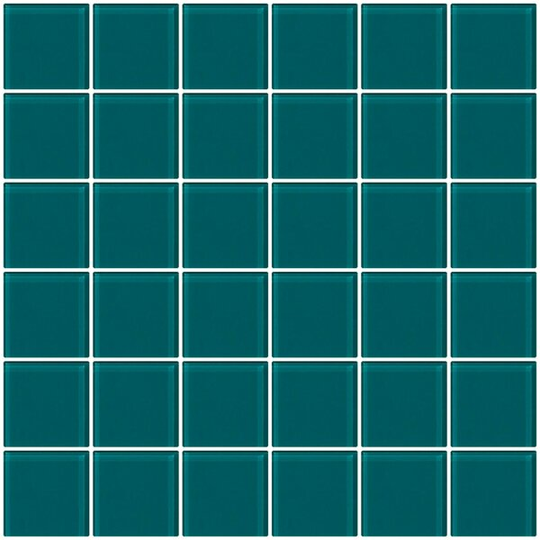 Bijou 22 2 x 2 Glass Mosaic Tile in Medium Teal Green by Susan Jablon
