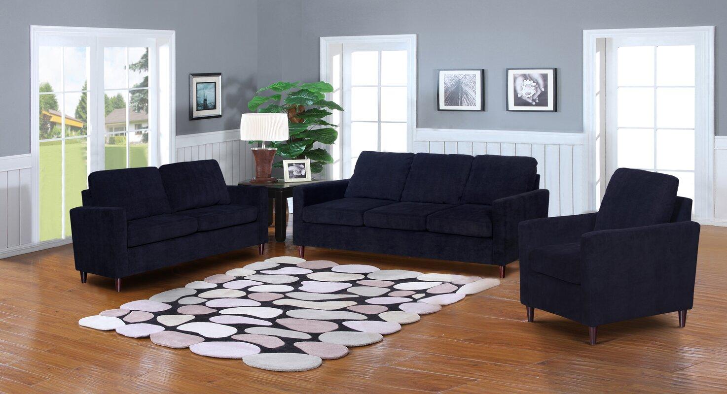Anglin Solid Raisin Fabric Modern 3 Piece Living Room Set