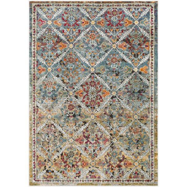 Kaiden Distressed Medallion Teal/Yellow Area Rug by Charlton Home