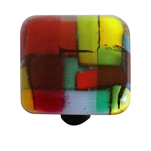 Artist Mosaic Square Knob by Aquila Art Glass