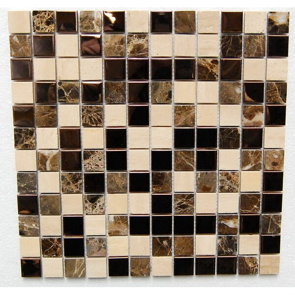1 x 1 Stainless Mixed Metal Mosaic Tile in Black/Brown by Luxsurface