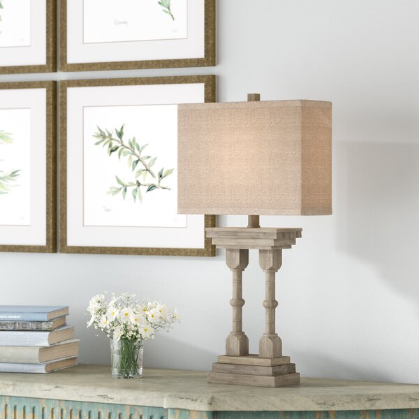 Kirree Wooden Column 26.5'' Table Lamp by Ophelia & Co.