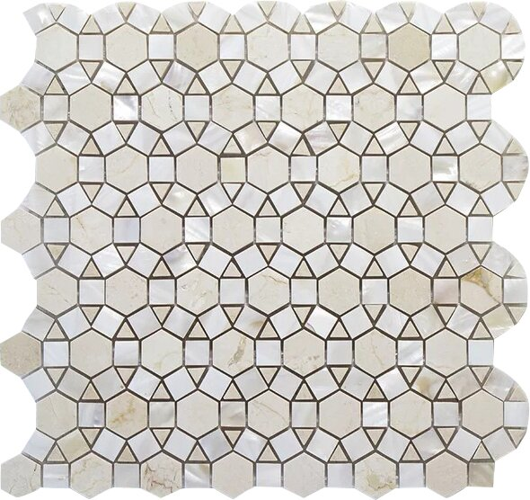 Bloom Carrara and Shell Wall Polished 12 x 12 Natural Stone Mosaic Tile in White by Seven Seas