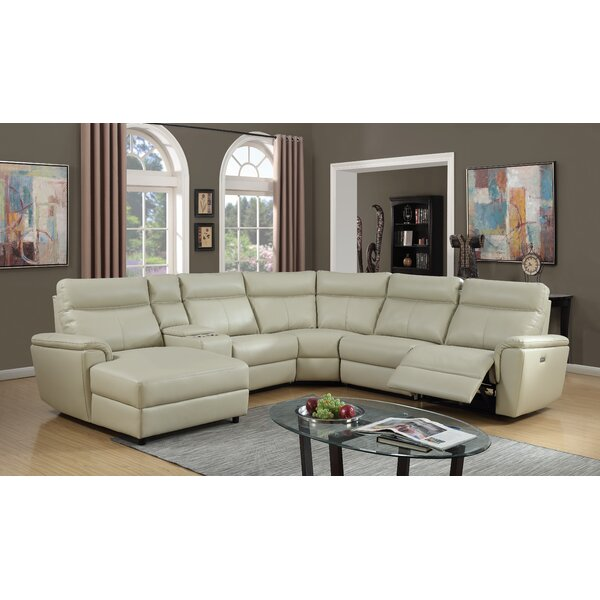 Nhan Power Gel Leather Reclining Sectional by Latitude Run