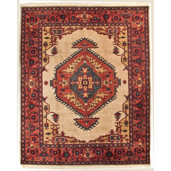 One-of-a-Kind Indo Serapi Hand-Woven Wool Rust/Ivory Area Rug by Exquisite Rugs