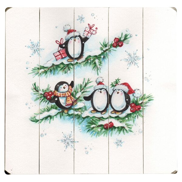 Holiday Penguin Painting Print Multi-Piece Image on Wood by Artehouse LLC
