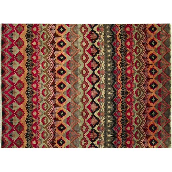 One-of-a-Kind Fine Ikat Bahman Hand-Knotted Red Area Rug by Noori Rug