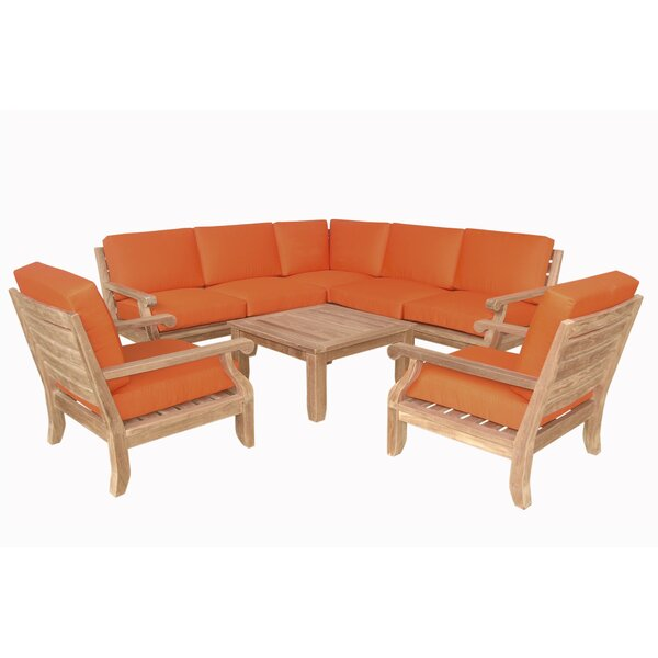 Gatsby Luxe 8 Piece Teak Sectional Seating Group by Rosecliff Heights