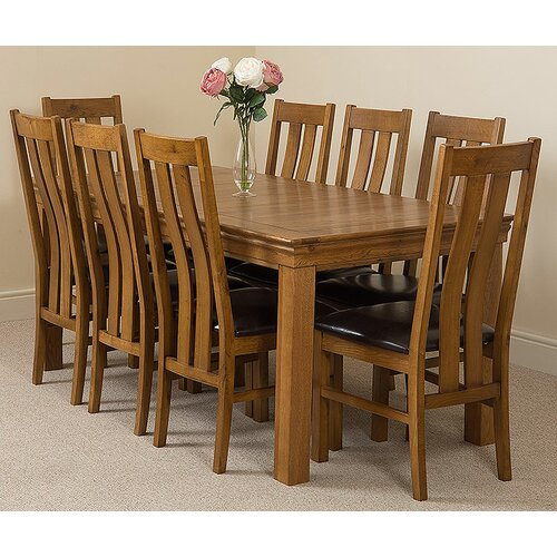 Greenwald Fixed Solid Oak Dining Set with 8 Princeton Chairs Ophelia and Co.