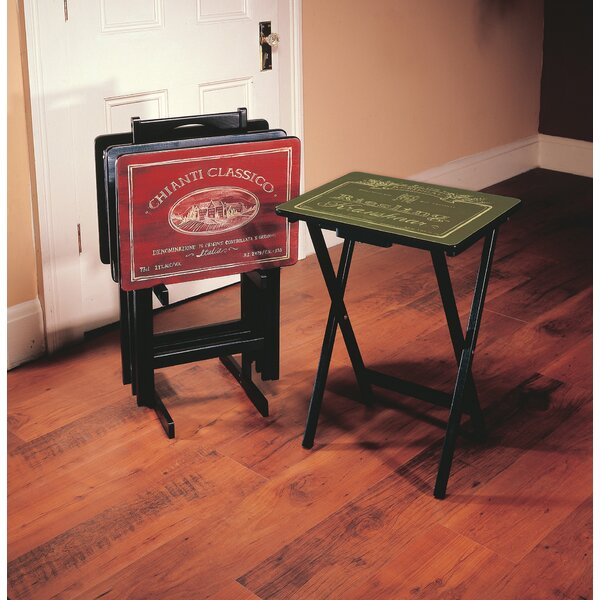 Alvina Wine Label TV Tray Set with Stand (Set of 4