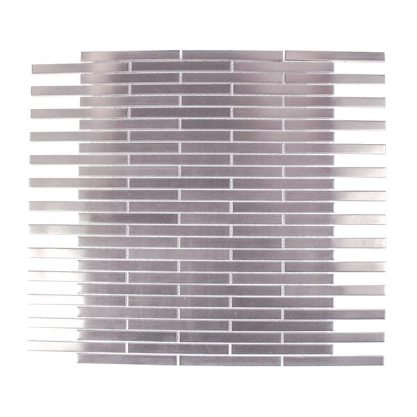 Stainless Steel 0.75 x 4 Metal Mosaic Tile in Brushed Silver by Splashback Tile