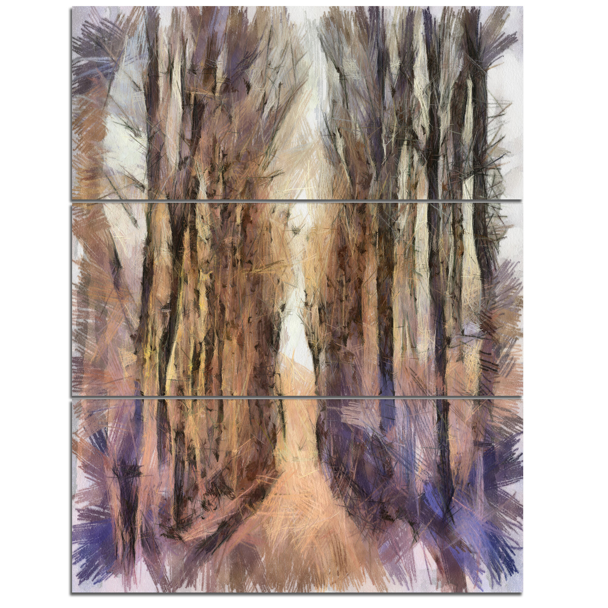 DesignArt Trees And Road Nature Watercolor 3 Piece Wall Art On Wrapped Canvas Set