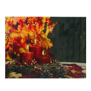 'LED Lighted Triple Tiered Crimson Candles Festive Fall Autumn' Graphic Art Print on Canvas by The Holiday Aisle