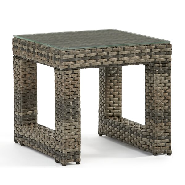 Varney Glass Side Table by Rosecliff Heights